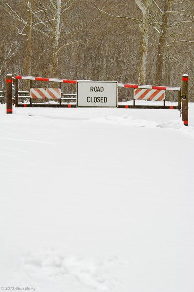 """The sign says """"Road Closed"""", but few people were out driving anyway."""