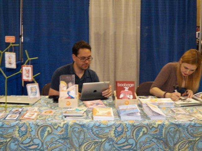 Monica Gallagher (right) comic creator