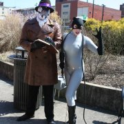 Catwoman (model Selina Kyle) and Jacob Mathis as anti hero Rorschach from Watchmen