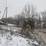 Water levels creep over road near Route 7 in Ohio on Sat. Feb. 2.