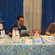 Monica Gallagher (right) comic creator
