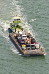 An equipment barge near Matagorda Island