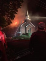 Wayne County Church Damaged by  Fire; Steeple Collapses