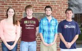 From left, Leah Cyrus, Zachary Dillard, Adam Kenney and Tyler McGary are shown in front of the Elbin Library.
