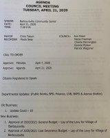 April 21 Barboursville Village Council Agenda
