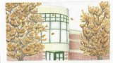 """""""A Cultured Autumn,"""" depicting the Joan C. Edwards Performing Arts Center and Playhouse by Tia Walkup, a sophomore art education major from Greenbrier County, West Virginia.  Walkup's design was named the first-place winner"""