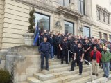 Huntington's men in blue rallied to oppose staff cuts in January