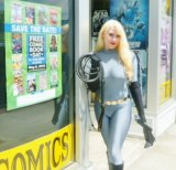 Catwoman (a.k.a. Lauren Littlepage) visits Comic World for 2015 Free Comic Book Day.