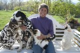 Rita Mae Brown and some of her animal pals
