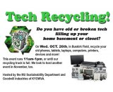 Marshall's Sustainability Department plans technology recycling event; volunteers needed for sweet potato harvest, greenhouse installation