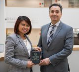 Thao Wolbert, M.D., left, was named July Resident of the Month by Marshall University Joan C. Edwards School of Medicine. She is pictured with Farid B. Mozaffari, M.D., surgery residency program director