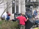 "McG directs scene from ""We Are Marshall"" near the Morrow Library."