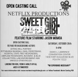 "Extras Needed for  Pittsburgh Casting of ""Sweet Girl"""