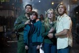 Left to right: Kyle Chandler plays Jackson Lamb, Joel Courtney plays Joe Lamb, Elle  Fanning plays Alice Dainard, and Ron Eldard plays Louis Dainard in SUPER 8, from  Paramount Pictures. Photo credit: François Duhamel  © 2011 Paramount Pictures. All Right