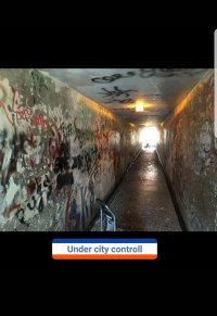 Tunnel before Cleaning and Donations by Volunteers