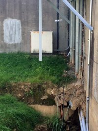 Portion of Downtown Floodwall Shifting Possibly  Due to Sink Hole Near Pump Station