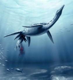 Plesiosaur giving birth. Image courtesy of Natural History Museum of Los Angeles County