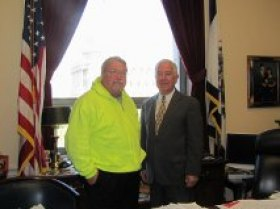 "Congressman Rahall with Wyoming County Circuit Clerk David ""Bugs"" Stover in Rahall's Capitol Hill office who recently completed his third walk from Wyoming County to Washington to raise awareness about the importance of coal to West Virginia's economy."