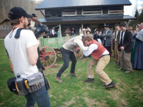 Reenactment of feud scenes at Heritage Farm, courtesy Trifecta Productions