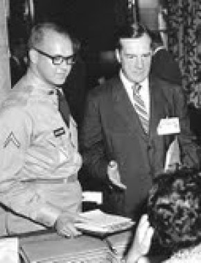 Book reviewer Rene A. Henry (then Pfc) with Col. Red Blaik at West Point in August 1957 at the first President's Conference On Physical Fitness & Sports