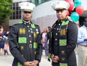 Capt. Joseph Common, left, and Capt. John Tucker are two of the first three African American Marines Corps officers to graduate from Marshall University with their Master of Arts degrees in leadership studies.