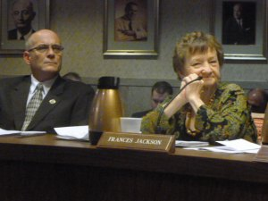 Council members Scott Caserta and Frances Jackson