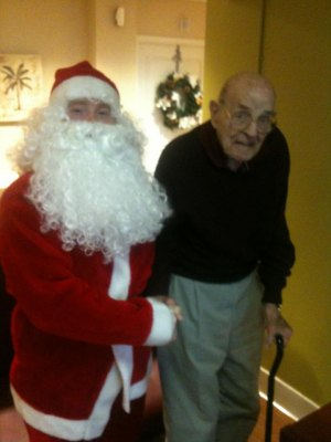 "Mayor Elect Steve Williams as ""Santa"" with His Father at Manor."