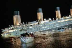 The unsinkable ship fills with water in a scene from 