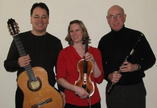 Guitarist Dr. Julio Ribeiro Alves (left) will be joined by his wife, violinist Kristen Alves (center), and fellow faculty member, flutist Dr. Wendell Dobbs, in a program of chamber music at 8 p.m. Feb. 13 in Marshall University's Smith Music Hall.