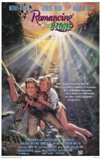 Romancing the Stone poster; note Kathleen Turner's footwear for the jungle