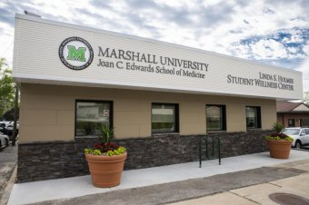 The new Linda S. Holmes Student Wellness Center located at 1321 Hal Greer Blvd. in Huntington provides study, relaxation and meeting space for students at the Marshall University Joan C. Edwards School of Medicine.