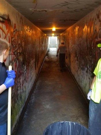 Volunteers Clean Huntington Pedestrian Tunnel