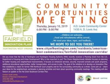 Fairfield Planning Meeting Scheduled