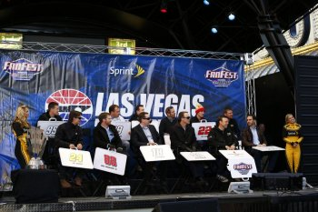 The 13 Chase for the NASCAR Sprint Cup drivers attend a fanfest hosted by Las Vegas Motor Speedway on the Third Street Stage at the Fremont Street Experience on December 4, 2013 in Las Vegas, Nevada.