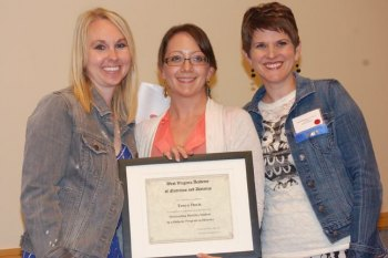 Jana Hovland (shown far right) received the 2014 Outstanding Young Dietician Award at the annual WVAND state conference. Hovland serves as director of the Marshall University DPD program and as a member of the National Nutrition Month committee for WVAND.