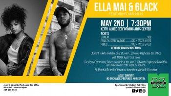 Marshall University to present Ella Mai, 6lack, Mahalia