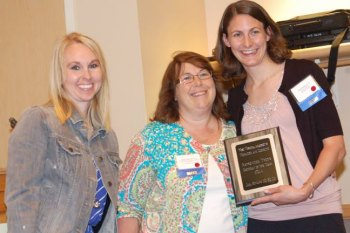 Tonya Davis (center) stands with Scholarship and Awards Chair for WVAND, Mallory Mount, and Dietetics Department Chair, Dr. Kelli Williams, during the 2014 annual WVAND state conference where she was recognized as the Outstanding Dietetic Student.