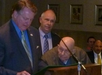 A proclamation issued at the Work Session honored World War II veteran, Clayton Wilson, for his service.