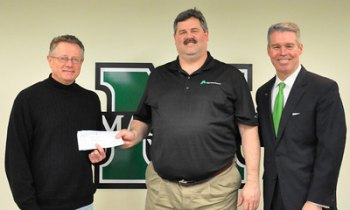 Dr. Richard Begley, Marshall University engineering professor, left, accepts a check from Keith Hainer of Alpha Natural Resources. At right is Lance West, Marshall's vice president for development.