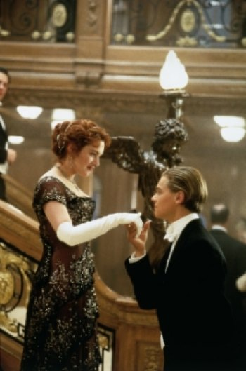 "Kate Winslet and Leonardo DiCapario as Rose and  Jack in a scene from ""Titanic."""