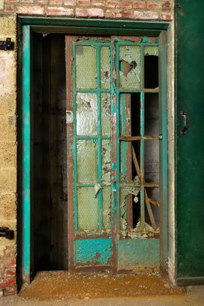 An original elevator door still intact