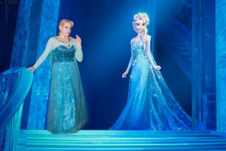 "Real life cosplaying Elsa Littlepage ""meets"" her animated sister during a promotion for Disney's ""Frozen"" production."