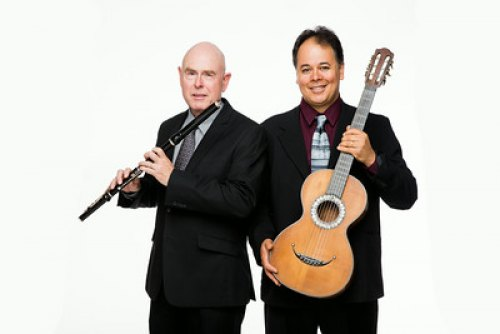The Violauta Duo, composed of Marshall University faculty members Dr. Wendell Dobbs, flute, (left) and Dr. Julio Alves, guitar, will perform Aug. 28 and 29.