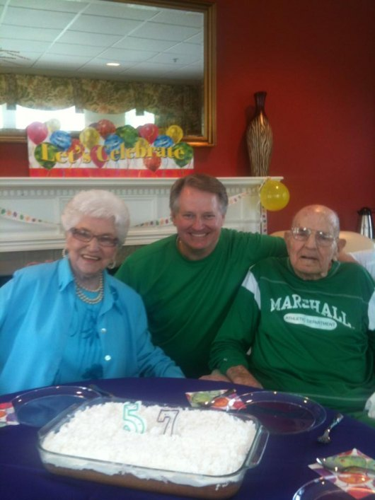 Mayor Williams with mom and dad at Aug 2013 birthday party