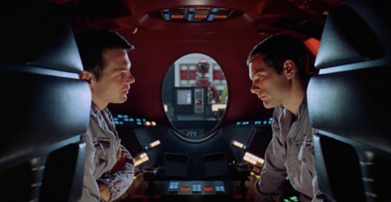 Astronauts Frank (Gary Lockwood) and Dave (Keir Dullea) discuss the malfunctioning HAL 9000 computer in 2001: A Space Odyssey.