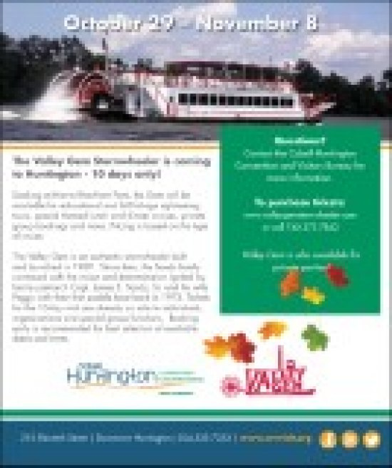 Cabell-Huntington Convention & Visitors Bureau Presents  The Valley Gem Riverboat  Saturday, October 29 – Sunday, November 6