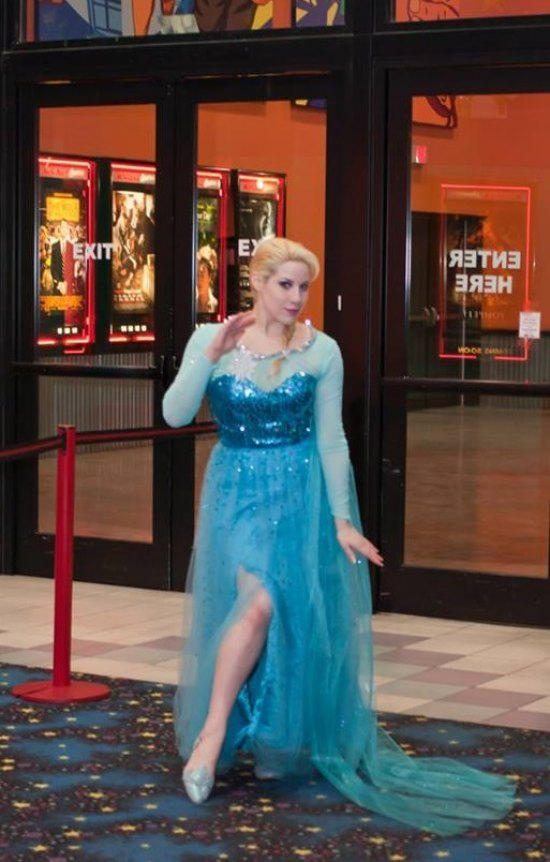"Professional cosplayer and model, Elsa Littlepage enters Marquee's Pullman Square as ""Elsa"" from ""Frozen"""