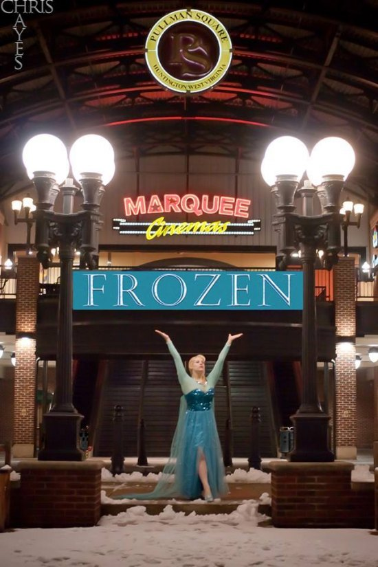 "Profession cos play model, Elsa Littlepage as Frozen's ""Elsa"" outside Marquee Pullman Square,  a fully digital 16 screen stadium theater in Huntington, WV"