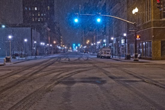 Snow covering Fourth Avenue Thursday, Jan. 31