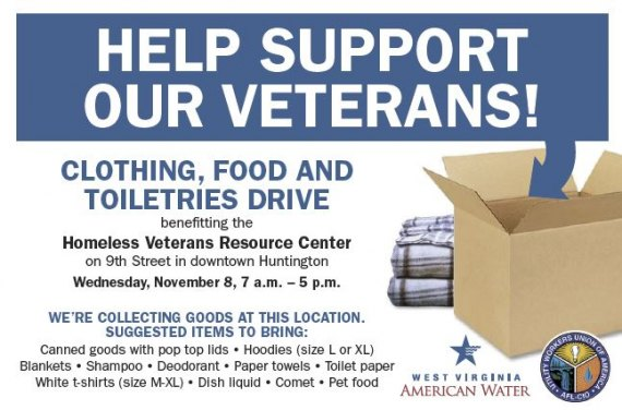 WVAW and UWUA Local 537 to hold Veterans Donation Drive Wednesday in Huntington and Barboursville